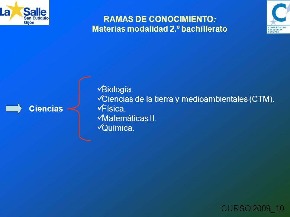 CURSO 2009_10 RAMAS DE CONOCIMIENTO: Materias modalidad 2.º bachillerato Ciencias Biología.