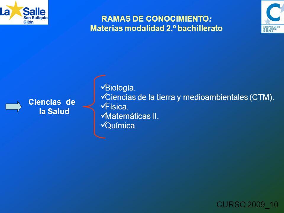 CURSO 2009_10 RAMAS DE CONOCIMIENTO: Materias modalidad 2.º bachillerato Ciencias de la Salud Biología.