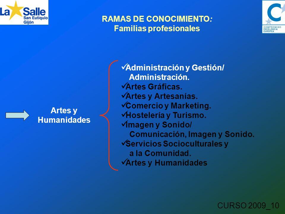 CURSO 2009_10 RAMAS DE CONOCIMIENTO: Familias profesionales Artes y Humanidades Administración y Gestión/ Administración.