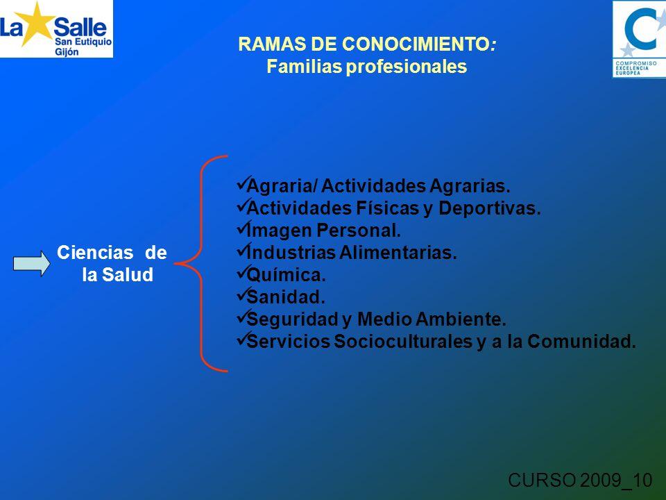 CURSO 2009_10 RAMAS DE CONOCIMIENTO: Familias profesionales Ciencias de la Salud Agraria/ Actividades Agrarias.