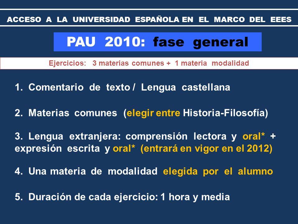 PAU 2010: fase específica Materias de modalidad Cada estudiante podrá examinarse de cualquiera de las materias de modalidad de segundo de bachillerato, distinta de la ya examinada en la fase general.