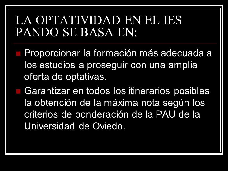 LA OPTATIVIDAD EN EL IES PANDO SE BASA EN: Proporcionar la formación más adecuada a los estudios a proseguir con una amplia oferta de optativas. Garan