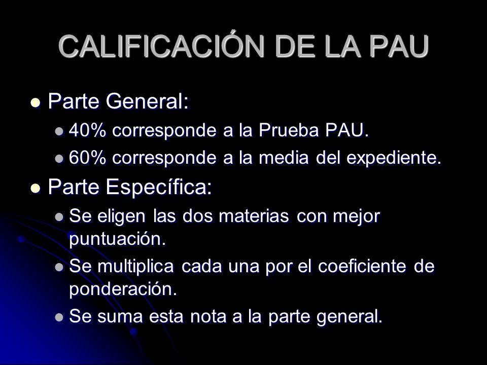 CALIFICACIÓN DE LA PAU Parte General: Parte General: 40% corresponde a la Prueba PAU. 40% corresponde a la Prueba PAU. 60% corresponde a la media del