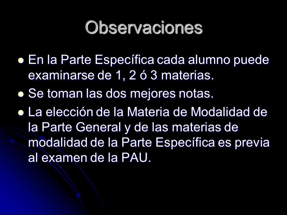 Observaciones En la Parte Específica cada alumno puede examinarse de 1, 2 ó 3 materias. En la Parte Específica cada alumno puede examinarse de 1, 2 ó