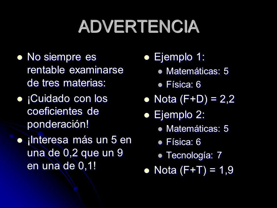 ADVERTENCIA No siempre es rentable examinarse de tres materias: No siempre es rentable examinarse de tres materias: ¡Cuidado con los coeficientes de p