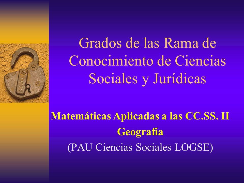 Grados de las Rama de Conocimiento de Ciencias Sociales y Jurídicas Matemáticas Aplicadas a las CC.SS. II Geografía (PAU Ciencias Sociales LOGSE)
