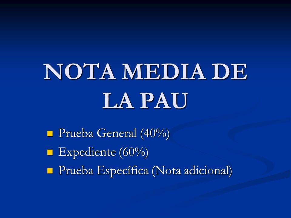 NOTA MEDIA DE LA PAU Prueba General (40%) Prueba General (40%) Expediente (60%) Expediente (60%) Prueba Específica (Nota adicional) Prueba Específica