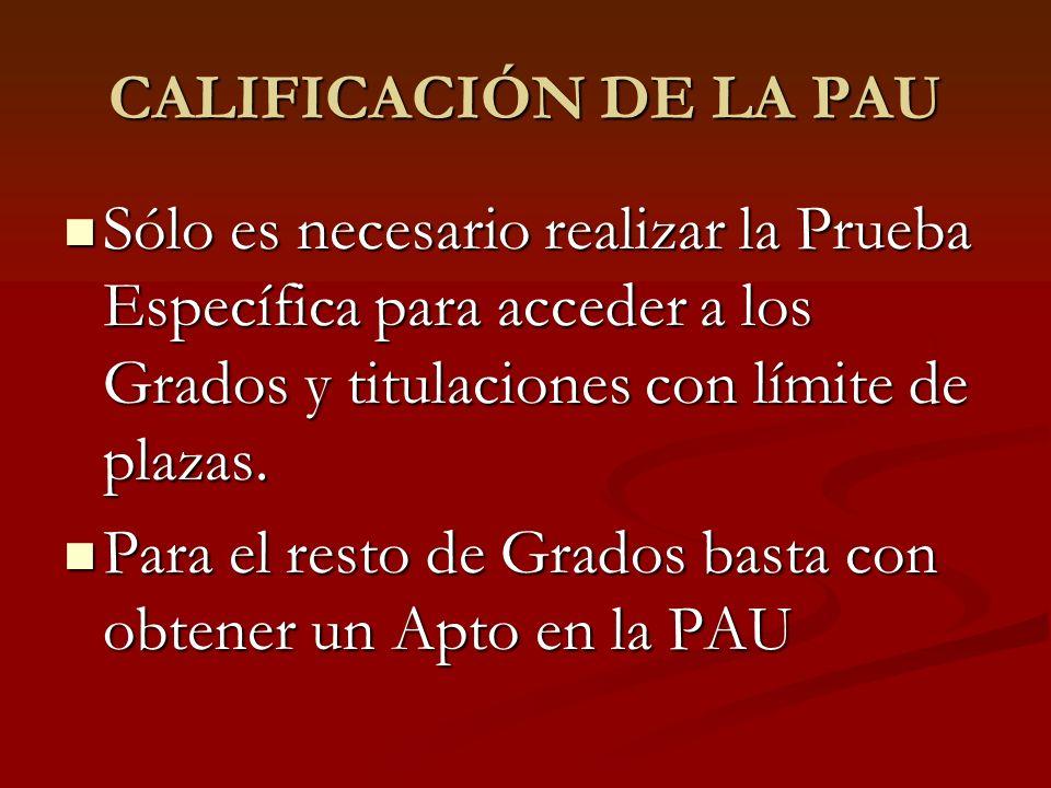 CALIFICACIÓN DE LA PAU Sólo es necesario realizar la Prueba Específica para acceder a los Grados y titulaciones con límite de plazas. Sólo es necesari