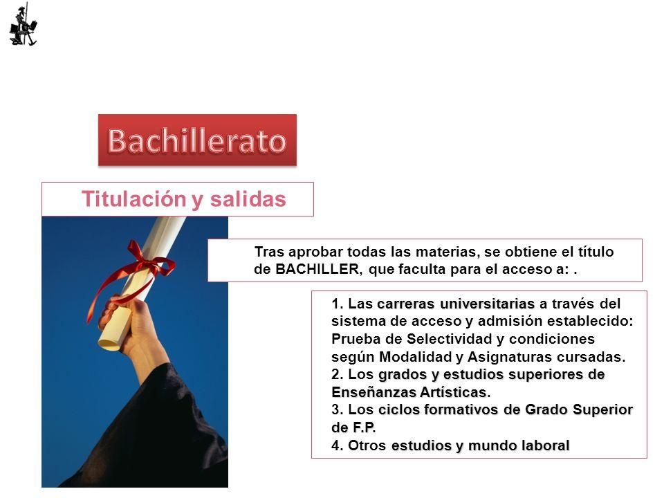 Titulación y salidas Tras aprobar todas las materias, se obtiene el título de BACHILLER, que faculta para el acceso a:. carreras universitarias 1. Las