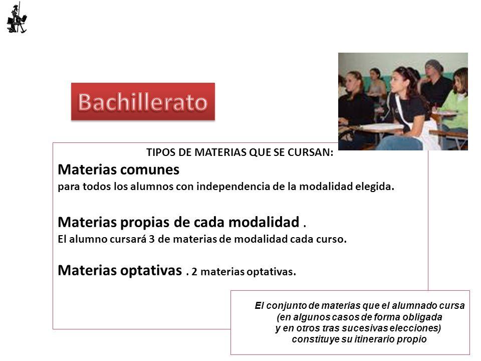 TIPOS DE MATERIAS QUE SE CURSAN: Materias comunes para todos los alumnos con independencia de la modalidad elegida. Materias propias de cada modalidad