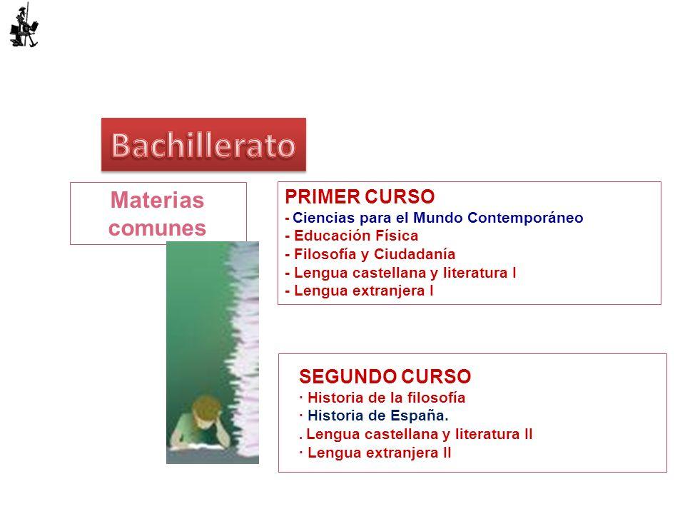 Materias comunes PRIMER CURSO - Ciencias para el Mundo Contemporáneo - Educación Física - Filosofía y Ciudadanía - Lengua castellana y literatura I -