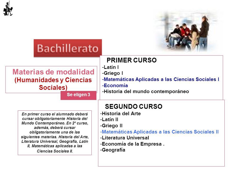 Materias de modalidad (Humanidades y Ciencias Sociales) Se eligen 3 PRIMER CURSO -Latín I -Griego I -Matemáticas Aplicadas a las Ciencias Sociales I -