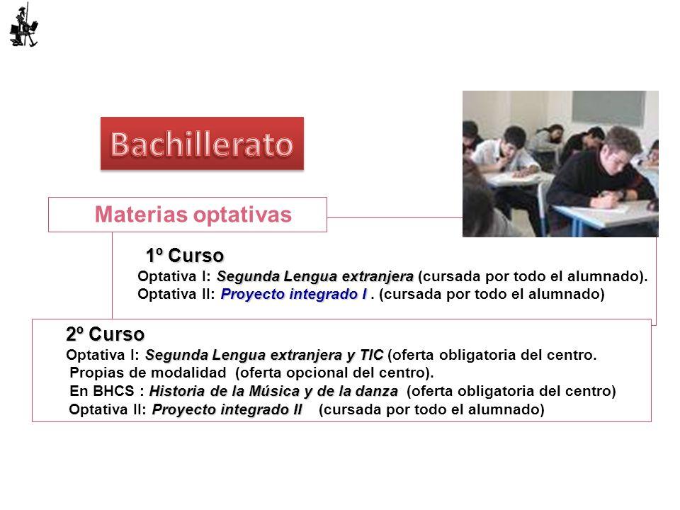 1º Curso Segunda Lengua extranjera Optativa I: Segunda Lengua extranjera (cursada por todo el alumnado). Proyecto integrado I Optativa II: Proyecto in