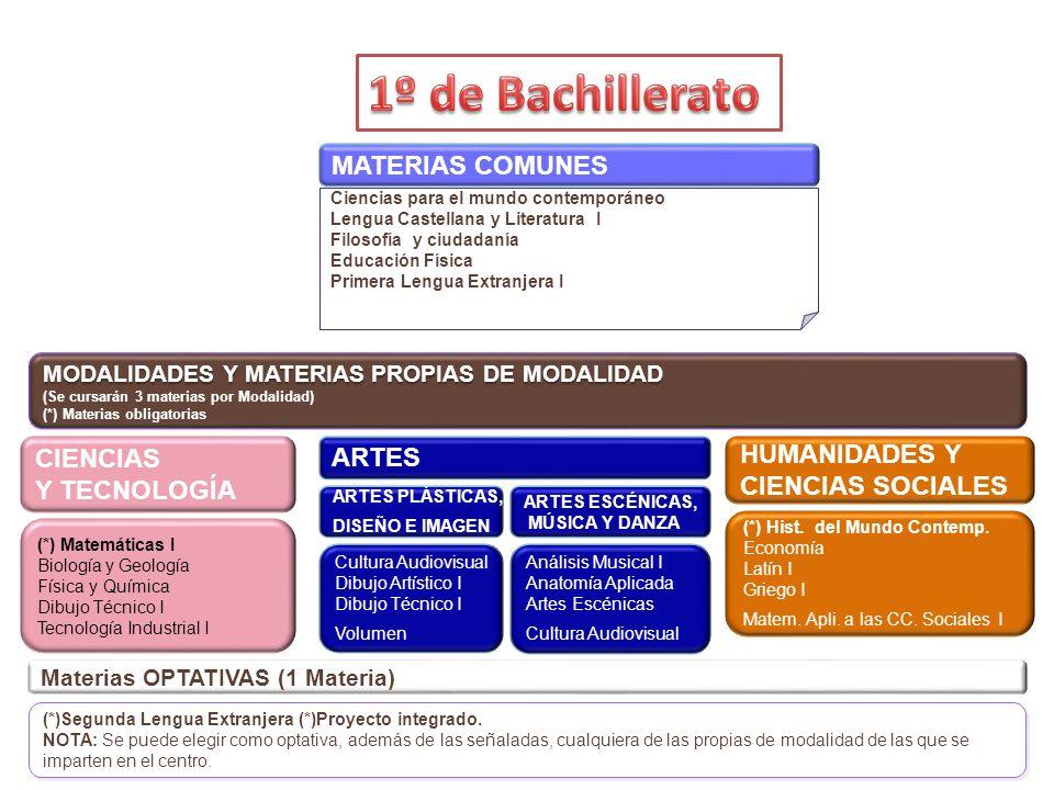 Ciencias para el mundo contemporáneo Lengua Castellana y Literatura I Filosofía y ciudadanía Educación Física Primera Lengua Extranjera I MODALIDADES