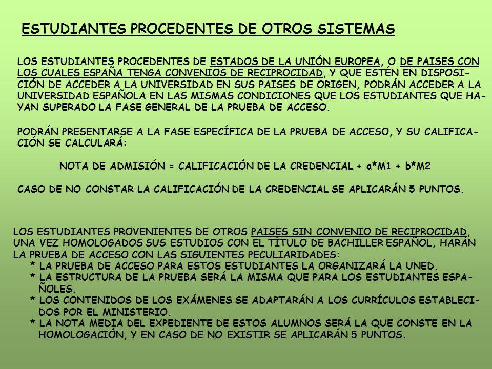 ESTUDIANTES PROCEDENTES DE OTROS SISTEMAS LOS ESTUDIANTES PROCEDENTES DE ESTADOS DE LA UNIÓN EUROPEA, O DE PAISES CON LOS CUALES ESPAÑA TENGA CONVENIO