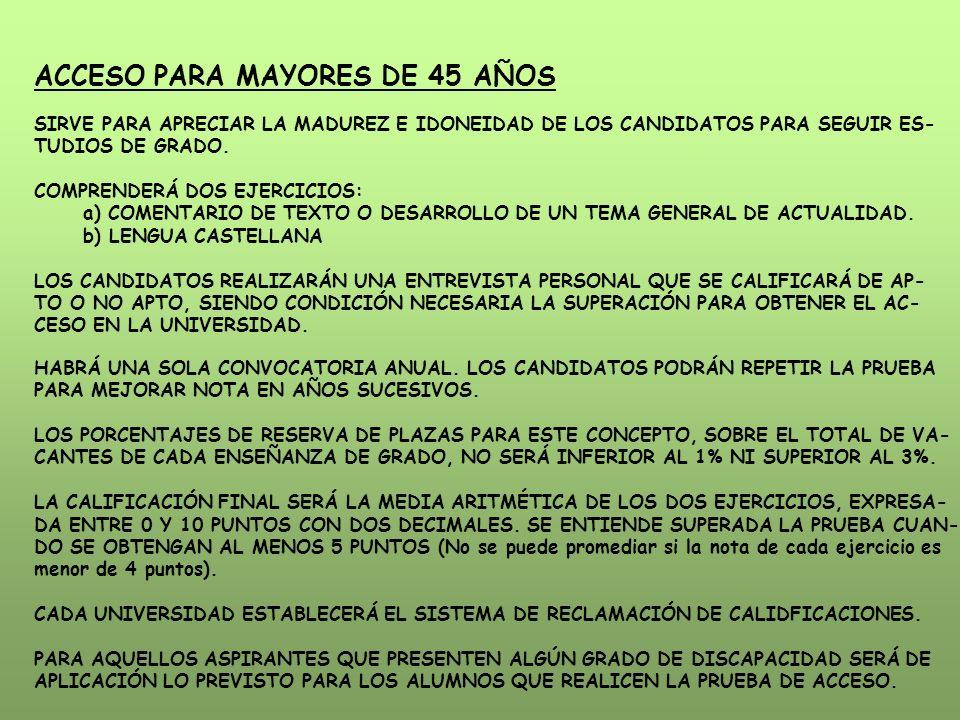 ACCESO PARA MAYORES DE 45 AÑOS SIRVE PARA APRECIAR LA MADUREZ E IDONEIDAD DE LOS CANDIDATOS PARA SEGUIR ES- TUDIOS DE GRADO. COMPRENDERÁ DOS EJERCICIO