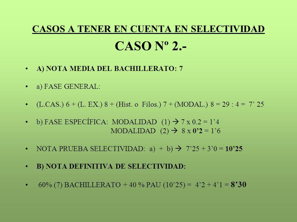 CASOS A TENER EN CUENTA EN SELECTIVIDAD CASO Nº 2.- A) NOTA MEDIA DEL BACHILLERATO: 7 a) FASE GENERAL: (L.CAS.) 6 + (L. EX.) 8 + (Hist. o Filos.) 7 +