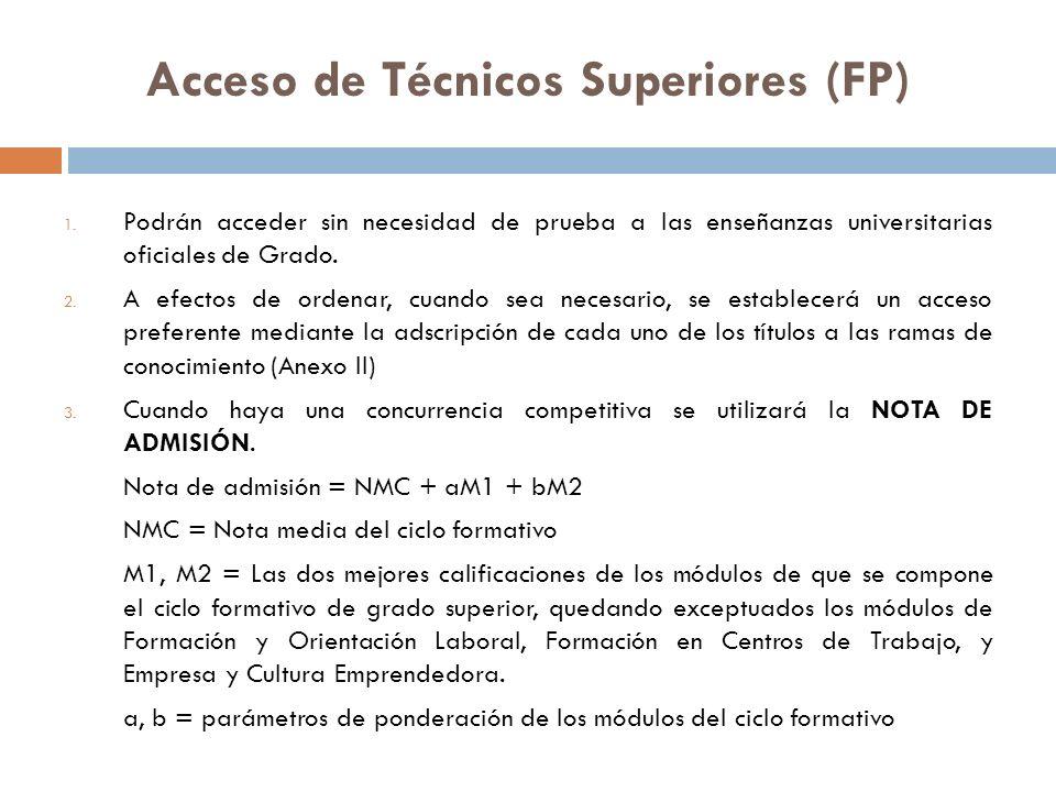 Acceso de Técnicos Superiores (FP) 1.