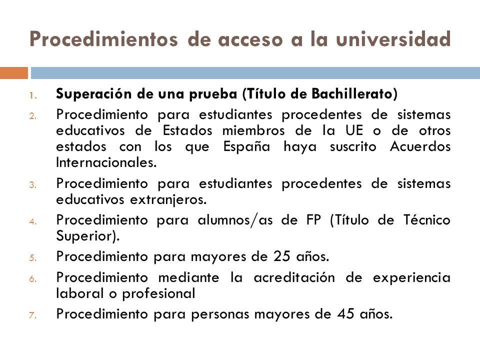 Procedimientos de acceso a la universidad 1. Superación de una prueba (Título de Bachillerato) 2.