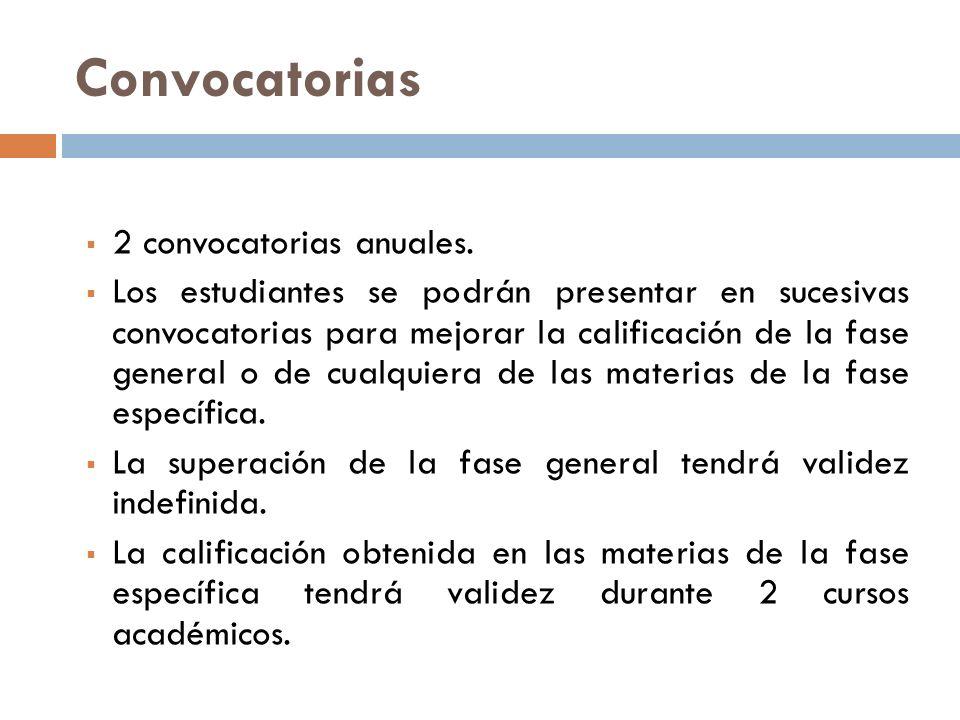 Convocatorias 2 convocatorias anuales.