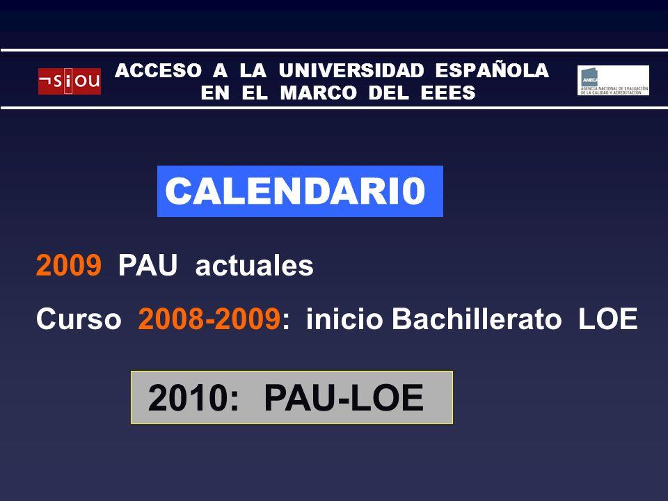 CALENDARI0 Curso 2008-2009: inicio Bachillerato LOE 2009 PAU actuales 2010: PAU-LOE ACCESO A LA UNIVERSIDAD ESPAÑOLA EN EL MARCO DEL EEES