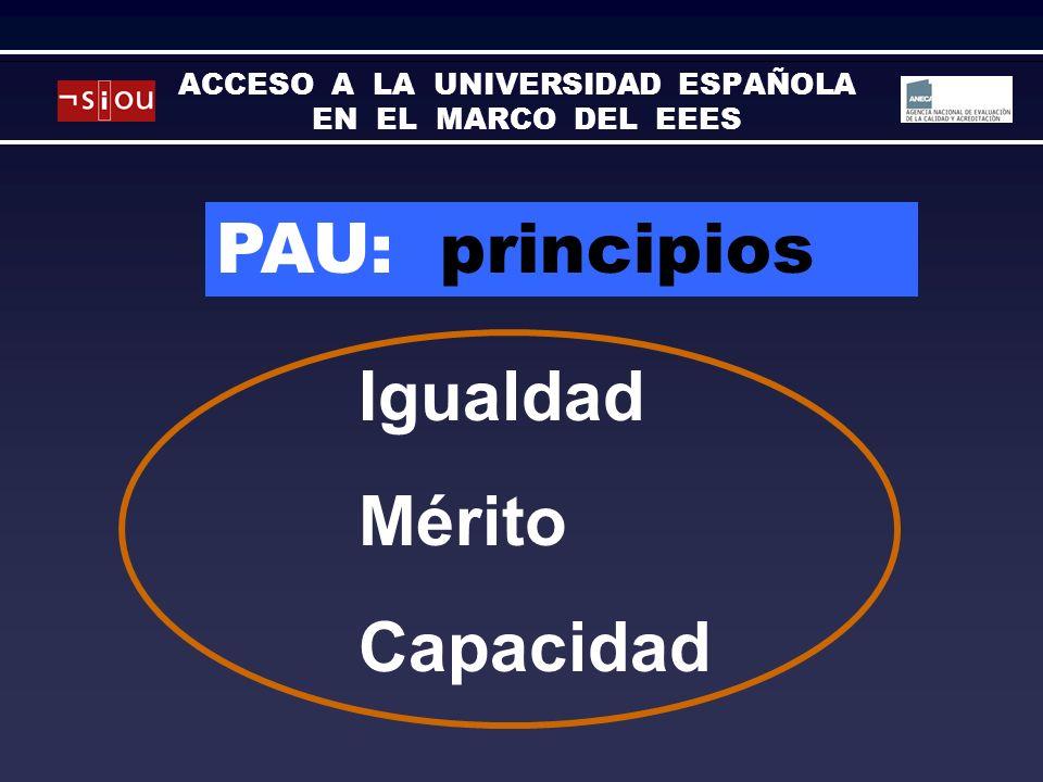PAU: principios Igualdad Mérito Capacidad ACCESO A LA UNIVERSIDAD ESPAÑOLA EN EL MARCO DEL EEES