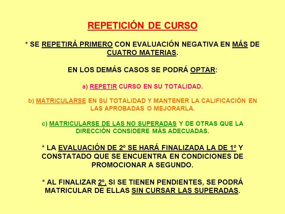 REPETICIÓN DE CURSO * SE REPETIRÁ PRIMERO CON EVALUACIÓN NEGATIVA EN MÁS DE CUATRO MATERIAS. EN LOS DEMÁS CASOS SE PODRÁ OPTAR: a) REPETIR CURSO EN SU