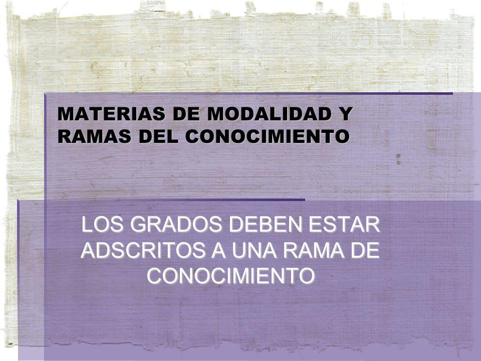 MATERIAS DE MODALIDAD Y RAMAS DEL CONOCIMIENTO LOS GRADOS DEBEN ESTAR ADSCRITOS A UNA RAMA DE CONOCIMIENTO