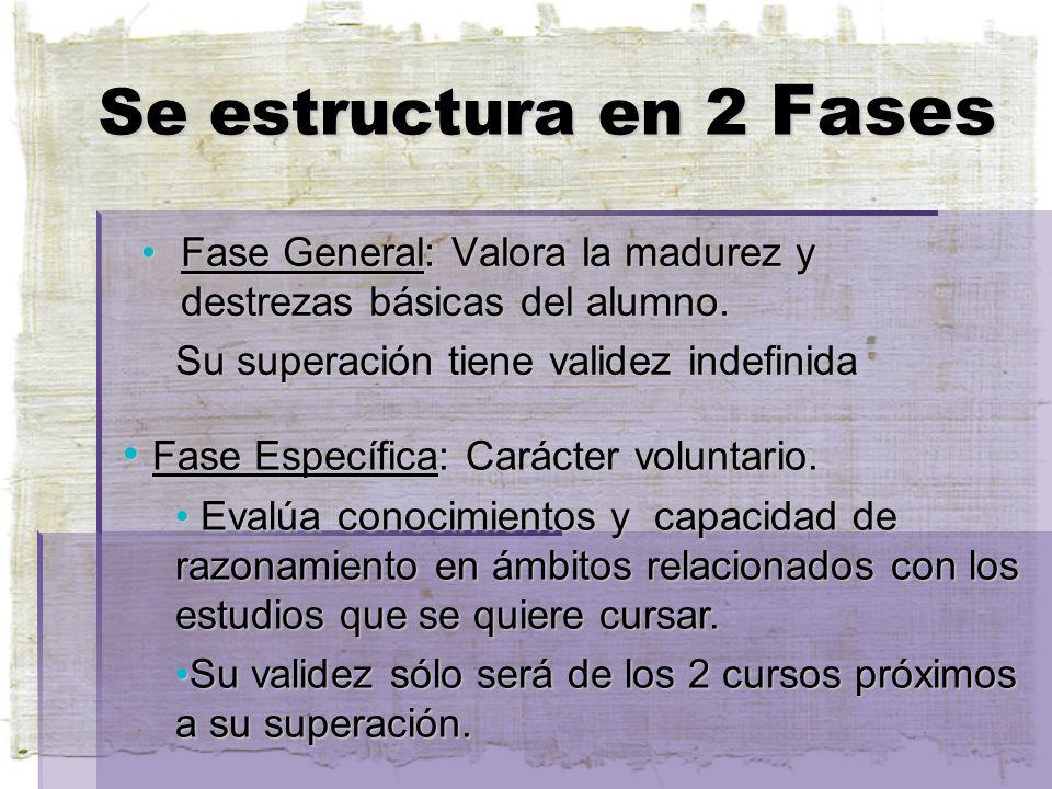 Se estructura en 2 Fases Fase General: Valora la madurez y destrezas básicas del alumno.Fase General: Valora la madurez y destrezas básicas del alumno.