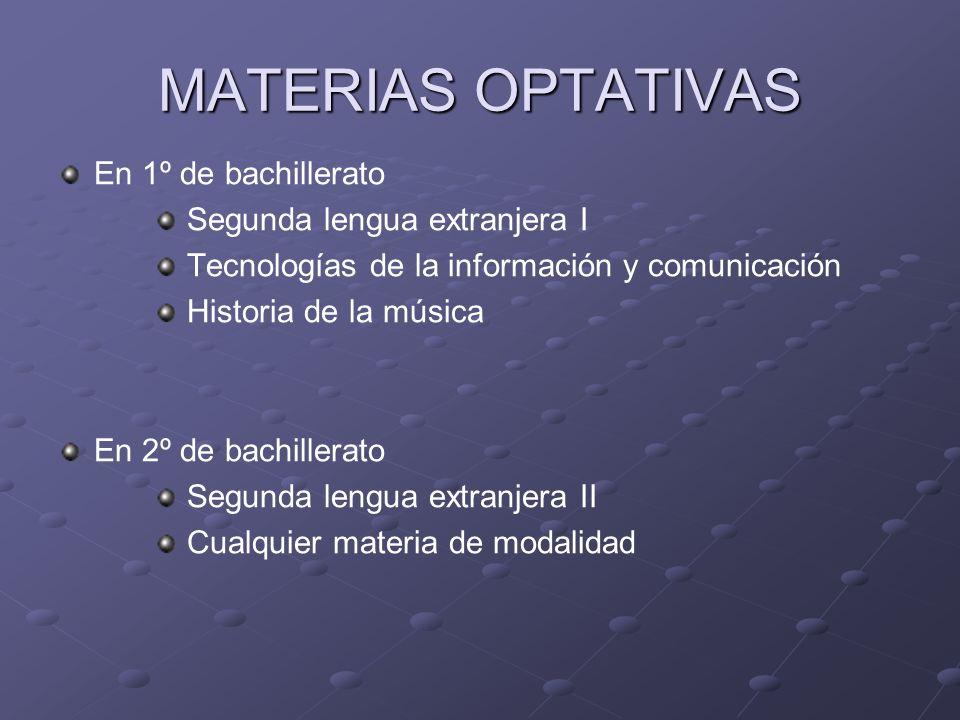 MATERIAS OPTATIVAS En 1º de bachillerato Segunda lengua extranjera I Tecnologías de la información y comunicación Historia de la música En 2º de bachi
