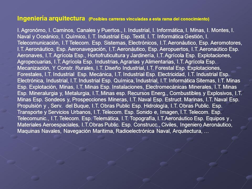 Ingeniería arquitectura (Posibles carreras vinculadas a esta rama del conocimiento) I. Agronómo, I. Caminos, Canales y Puertos., I. Industrial, I. Inf