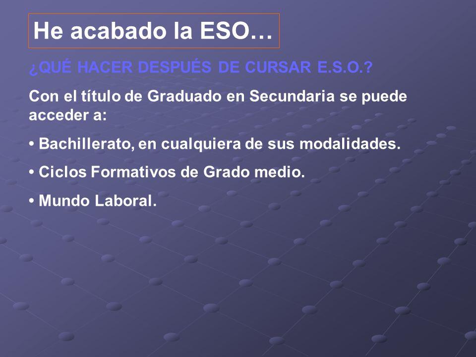 ¿QUÉ HACER DESPUÉS DE CURSAR E.S.O.? Con el título de Graduado en Secundaria se puede acceder a: Bachillerato, en cualquiera de sus modalidades. Ciclo