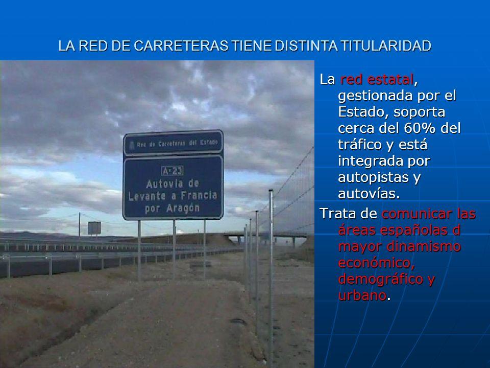 LA RED DE CARRETERAS TIENE DISTINTA TITULARIDAD La red estatal, gestionada por el Estado, soporta cerca del 60% del tráfico y está integrada por autop