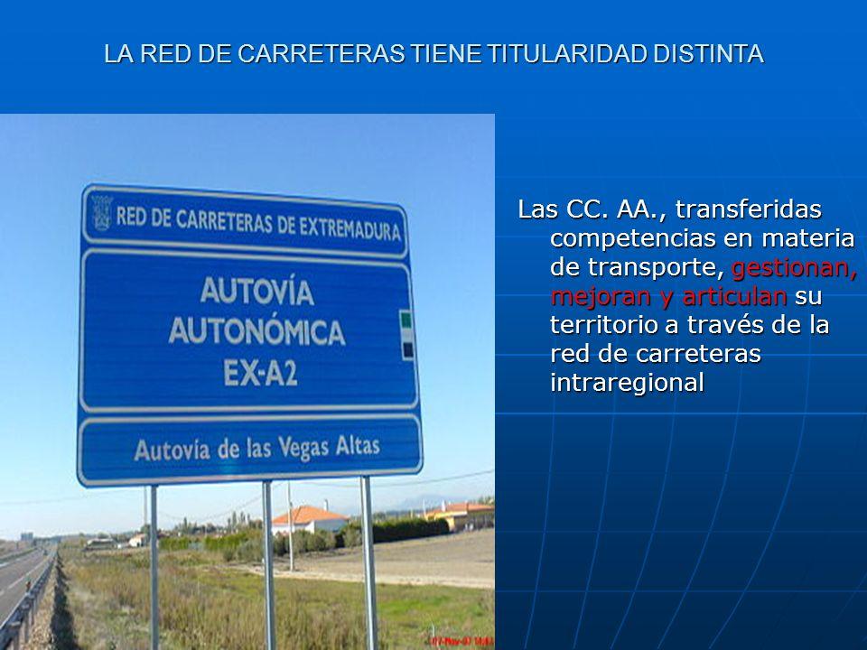 LA RED DE CARRETERAS TIENE TITULARIDAD DISTINTA Las CC. AA., transferidas competencias en materia de transporte, gestionan, mejoran y articulan su ter