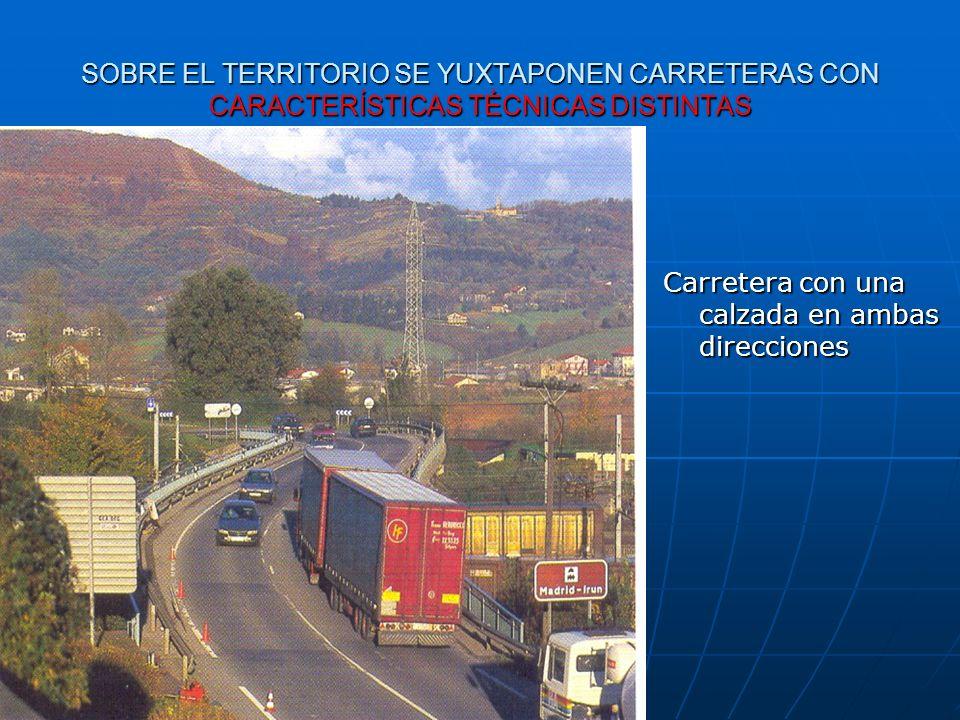 SOBRE EL TERRITORIO SE YUXTAPONEN CARRETERAS CON CARACTERÍSTICAS TÉCNICAS DISTINTAS Carretera con una calzada en ambas direcciones