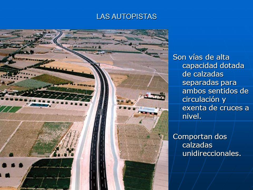 LAS AUTOPISTAS Son vías de alta capacidad dotada de calzadas separadas para ambos sentidos de circulación y exenta de cruces a nivel. Comportan dos ca