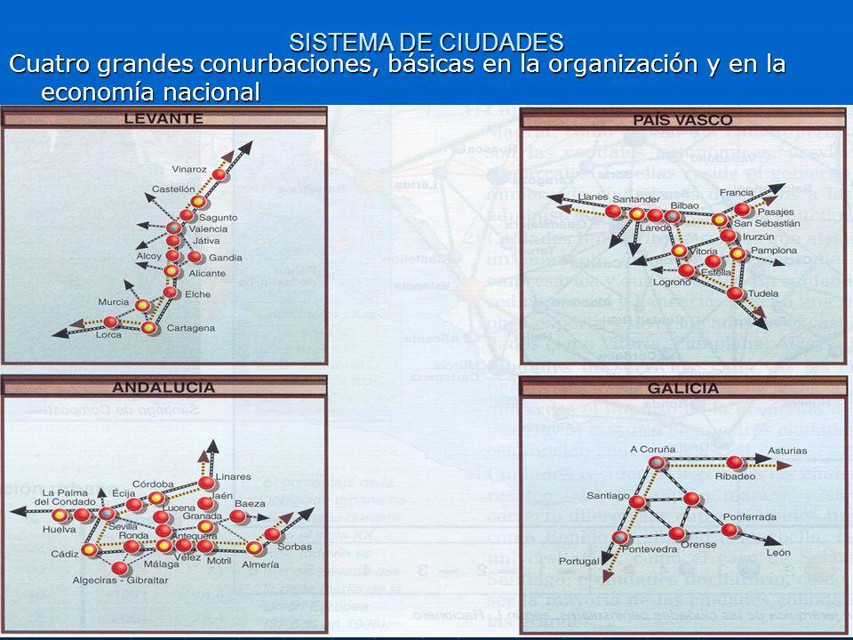 SISTEMA DE CIUDADES Cuatro grandes conurbaciones, básicas en la organización y en la economía nacional
