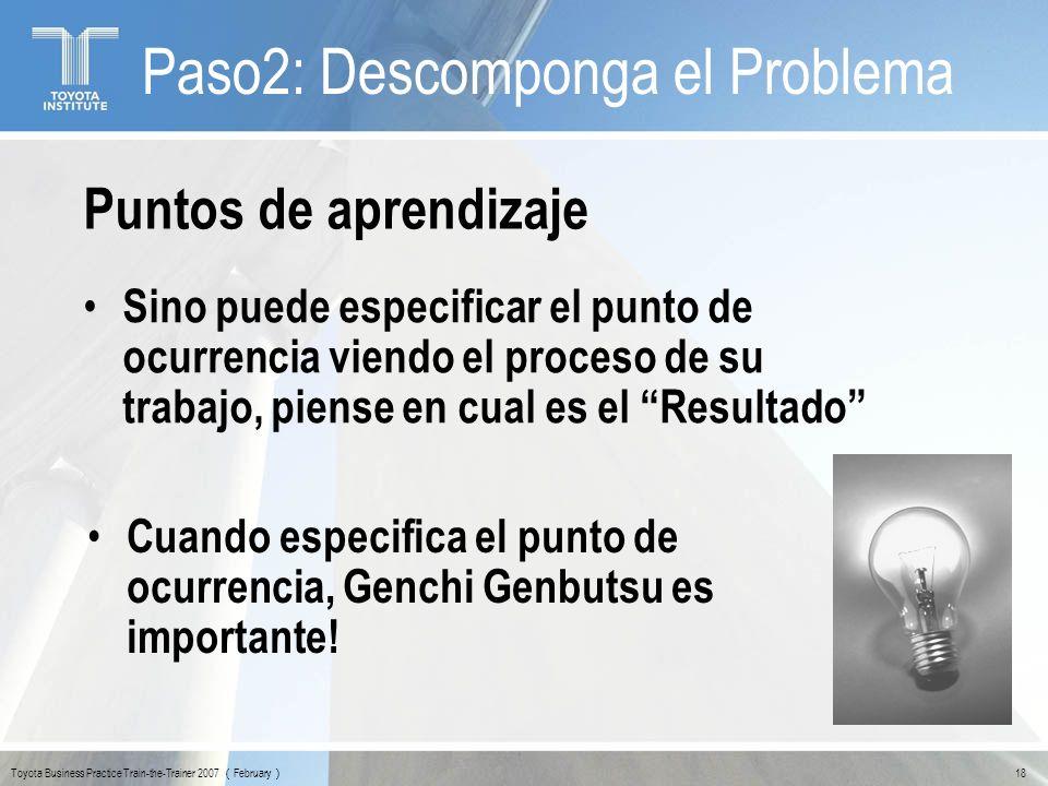Toyota Business Practice Train-the-Trainer 2007 February 18 Puntos de aprendizaje Sino puede especificar el punto de ocurrencia viendo el proceso de s