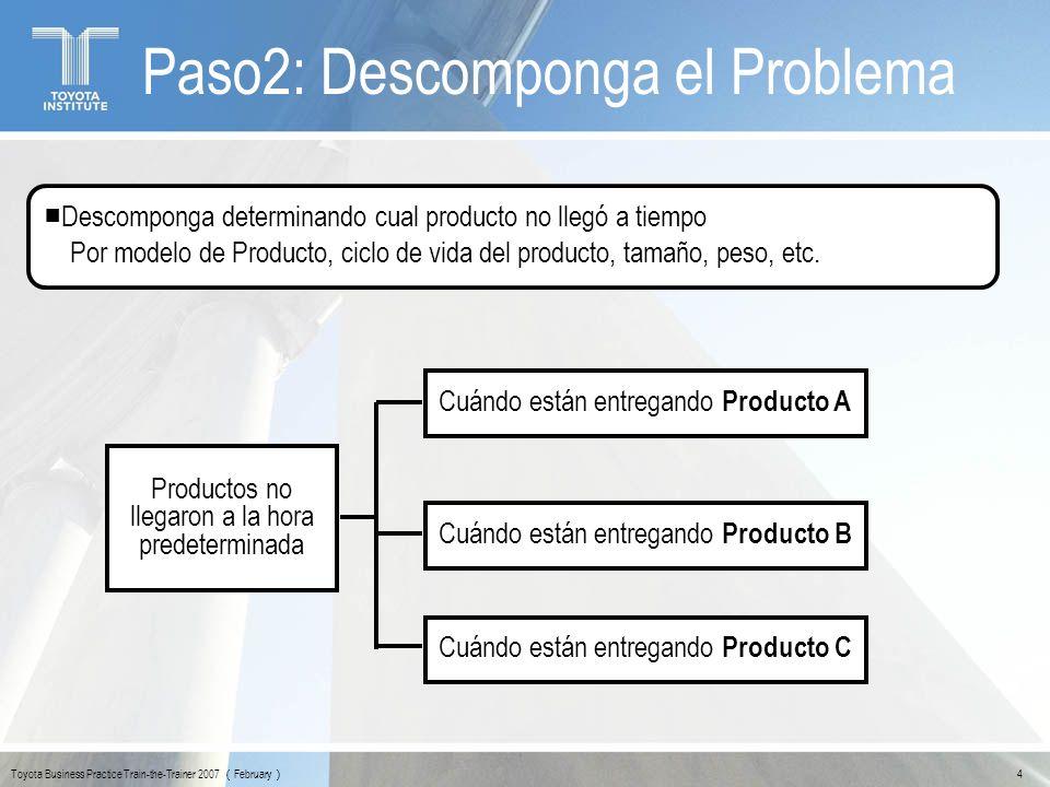 Toyota Business Practice Train-the-Trainer 2007 February 5 Paso2: Descomponga el Problema Descomponga determinando cual producto no llegó a tiempo Por modelo de Producto, ciclo de vida del producto, tamaño, peso, etc.