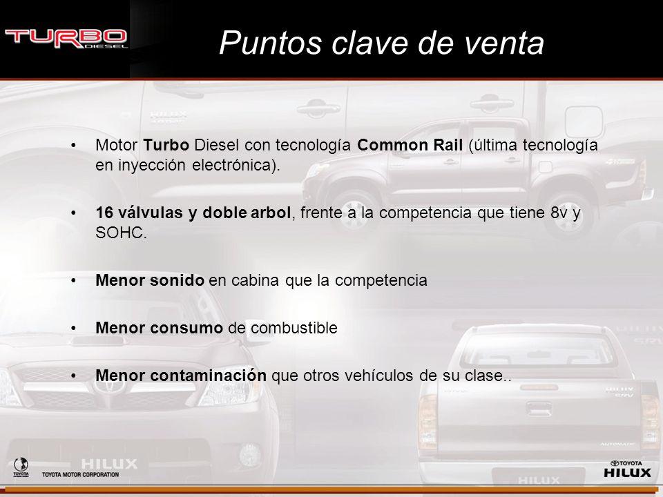 Puntos clave de venta Motor Turbo Diesel con tecnología Common Rail (última tecnología en inyección electrónica). 16 válvulas y doble arbol, frente a