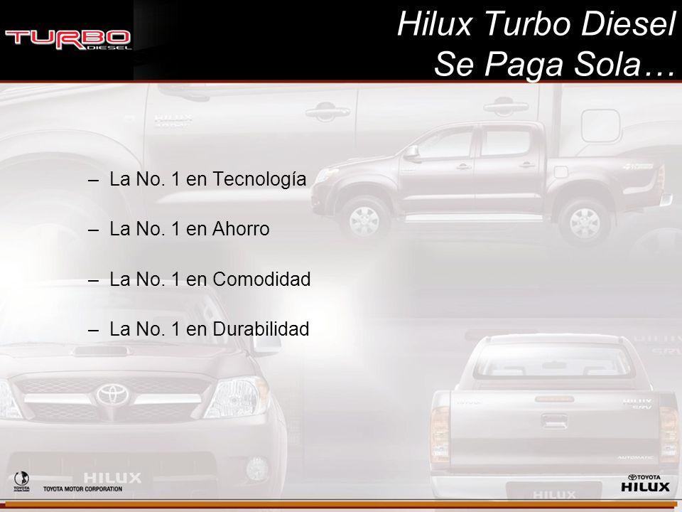 Hilux Turbo Diesel Se Paga Sola… –La No. 1 en Tecnología –La No. 1 en Ahorro –La No. 1 en Comodidad –La No. 1 en Durabilidad