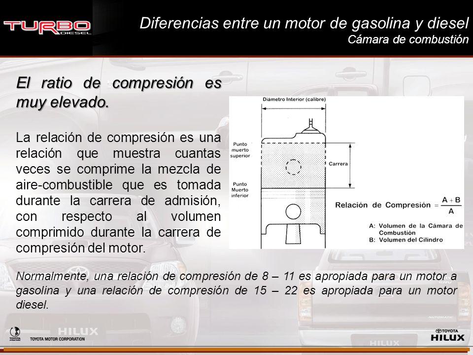 Diferencias entre un motor de gasolina y diesel Cámara de combustión El ratio de compresión es muy elevado. La relación de compresión es una relación