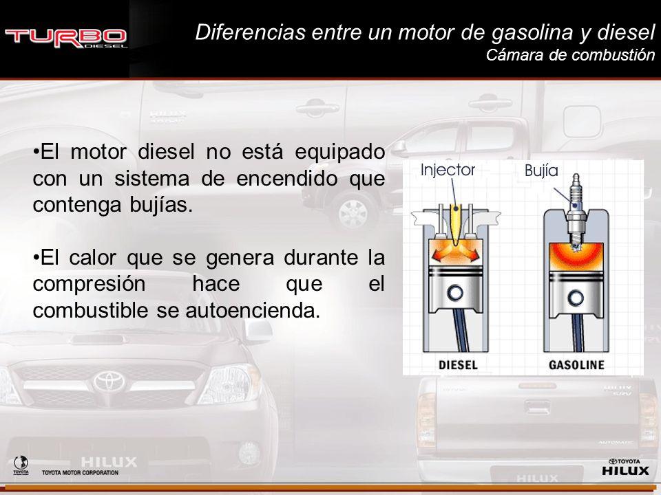 Diferencias entre un motor de gasolina y diesel Cámara de combustión El motor diesel no está equipado con un sistema de encendido que contenga bujías.