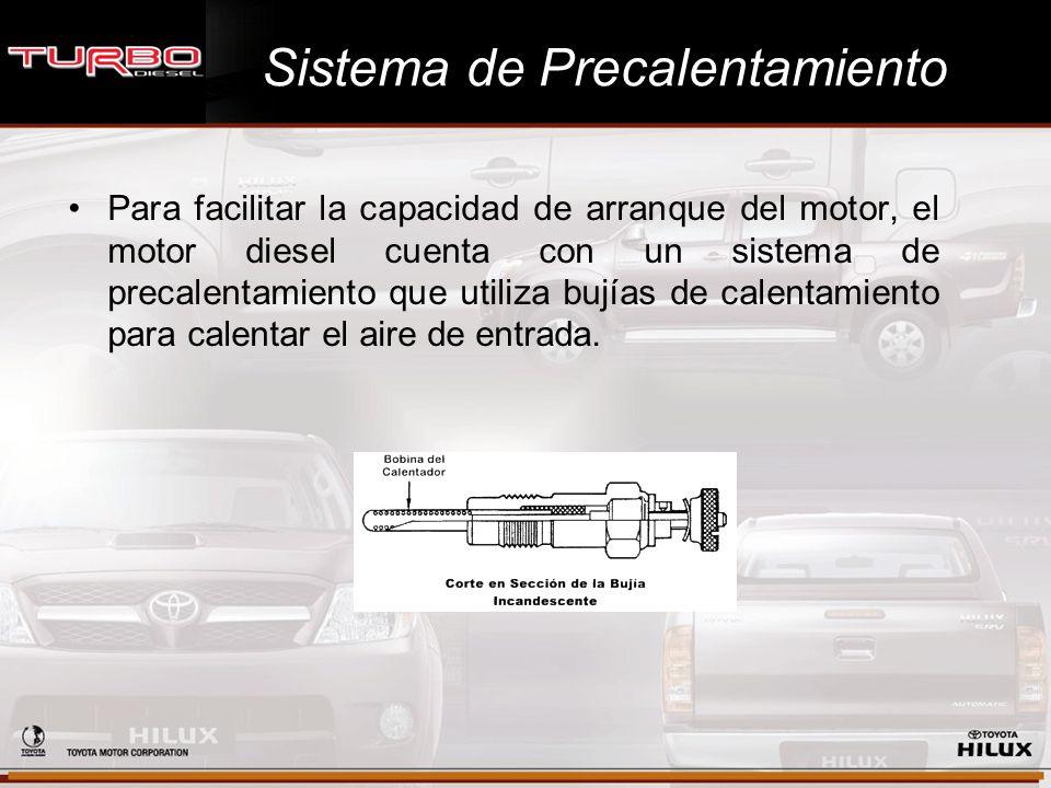 Sistema de Precalentamiento Para facilitar la capacidad de arranque del motor, el motor diesel cuenta con un sistema de precalentamiento que utiliza b