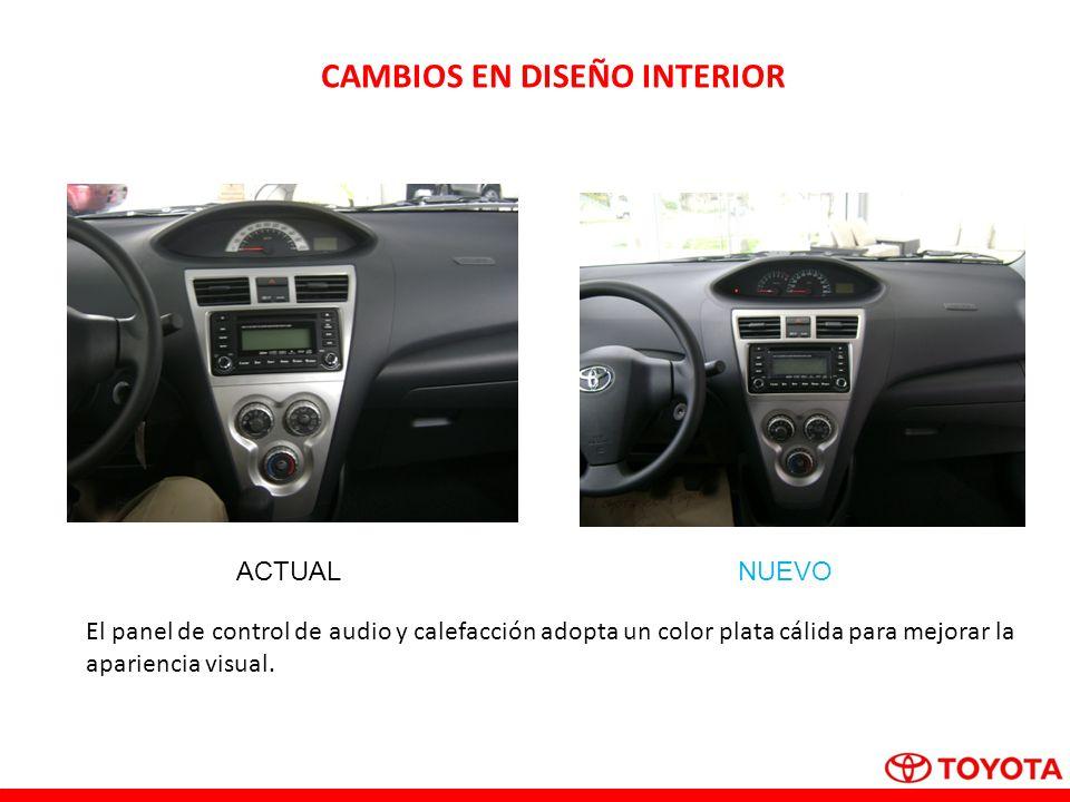 CAMBIOS EN DISEÑO INTERIOR El panel de control de audio y calefacción adopta un color plata cálida para mejorar la apariencia visual.