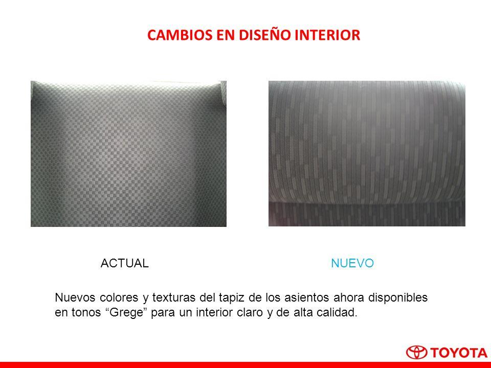 CAMBIOS EN DISEÑO INTERIOR ACTUALNUEVO Nuevos colores y texturas del tapiz de los asientos ahora disponibles en tonos Grege para un interior claro y de alta calidad.