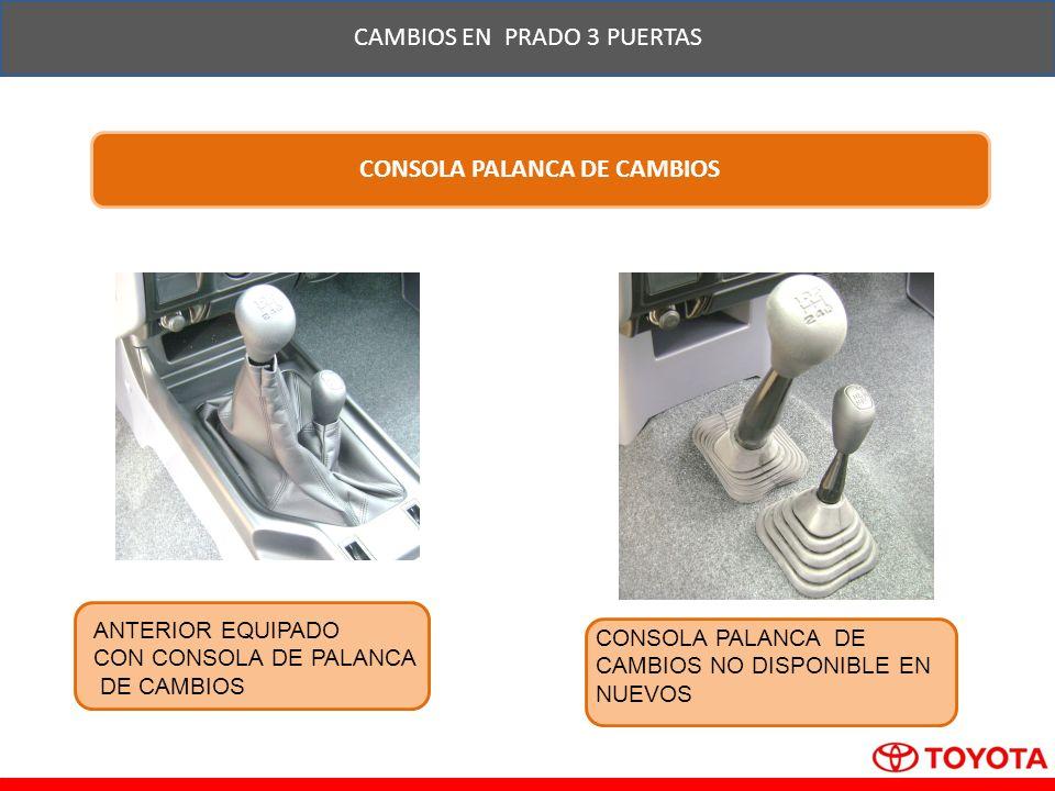 CAMBIOS EN PRADO 3 PUERTAS CONSOLA PALANCA DE CAMBIOS ANTERIOR EQUIPADO CON CONSOLA DE PALANCA DE CAMBIOS CONSOLA PALANCA DE CAMBIOS NO DISPONIBLE EN