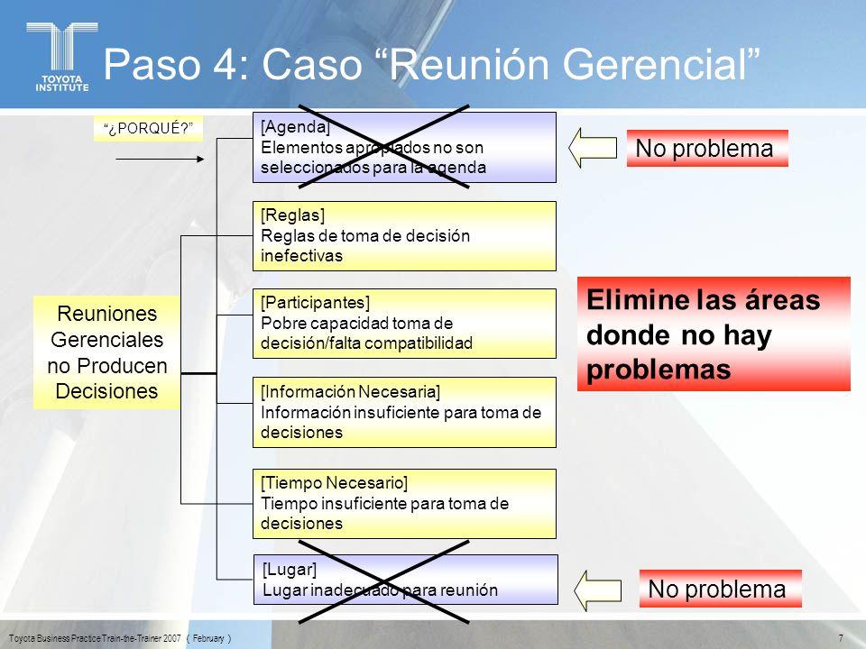 7 Toyota Business Practice Train-the-Trainer 2007 February Paso 4: Caso Reunión Gerencial No problema ¿PORQUÉ? [Reglas] Reglas de toma de decisión ine