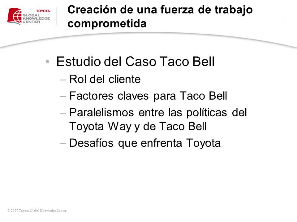 © 2007 Toyota Global Knowledge Center Creación de una fuerza de trabajo comprometida Estudio del Caso Taco Bell –Rol del cliente –Factores claves para