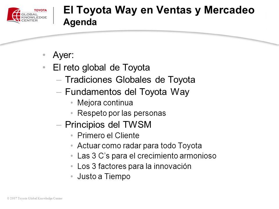 © 2007 Toyota Global Knowledge Center El Toyota Way en Ventas y Mercadeo Agenda Hoy: –Crear una fuerza de trabajo comprometida (Caso #1) –Aplicación del TWSM en la vida real (Kaizen & Aspectos que tocan al Cliente) –El TWSM en acción Plan de Acción Personal –Desglose y Resumen